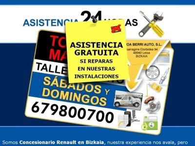 Asistencia en carretera gratis 24 horas en Bizkaia