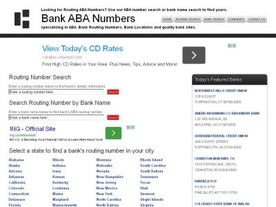 Bank ABA/Routing Numbers