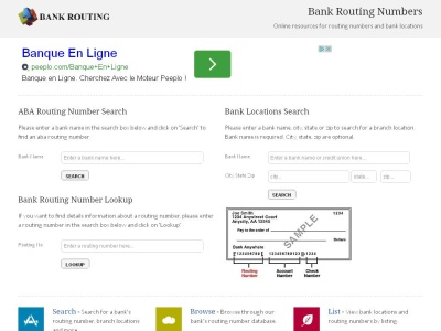 bank routing numbers